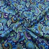 Ткань фланель Зеленые огурцы на синем